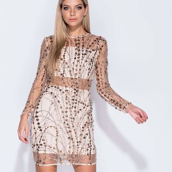 Sequin & Glitter Sheer Panel Body-Con Dress
