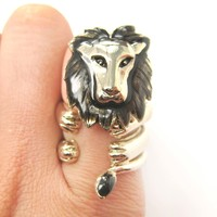 Adjustable 3D Lion Tiger Wrap Around Animal Ring in Shiny Gold