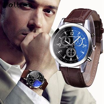 Malloom Mens Roman Numeral Blue Ray Glass and Luxury Leather Analog Quartz Business Wrist Watch