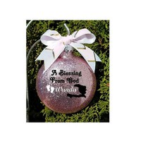 Personalized Adoption Gift - For this Child we have prayed Custom Name Christmas Gift for Couple Glitter Ornament comes in a Gift Box