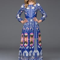 Floral Paisley Print Long Sleeve Maxi Dress