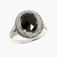 0.63ct. Black Onyx vs. Diamond Ring In 14k White Gold Size 7.0