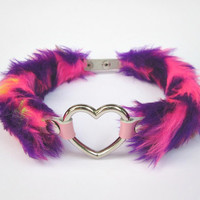 NEW Trippy 90s Rave Heart Choker, Pale Grunge Kawaii Furry Cosplay Gyaru Collar, Pink Purple Faux Fur, PU Leather