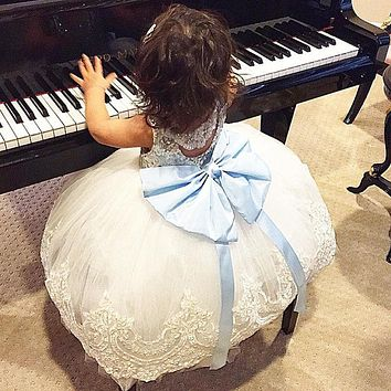 Ball Gown Hot Girls Dresses Summer Style Flower Girl Bow knot Lace Embroidered Dress Baby Kids Party Dresses