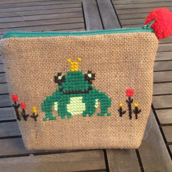 Frog burlap pouch bag, cross stitch embroidery ,accessories pouch, handmade pouch, travel accessory