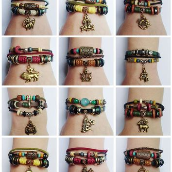 New 12 Zodiac Sign Charm Hemp Leather Bracelet Aquarius Capricorn Pisces Scorpio Libra Gemini Sagittarius for Men Women Surfer