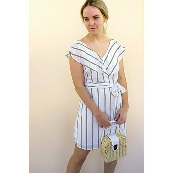 Roma Striped Ruffle Dress - white
