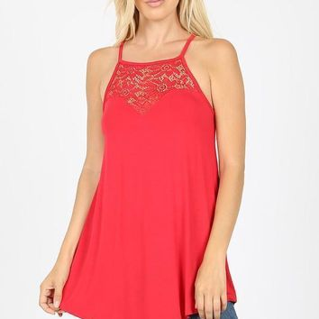 Sheer Genius Halter Top in Ruby