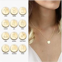 Stainless Steel Women's 12 Star Zodiac Constellations Necklace Jewelry