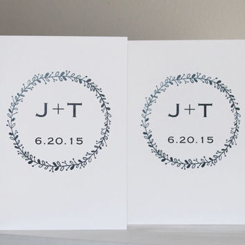 Wedding Vow Books - Featuring Initials and Wedding Date - White Wedding