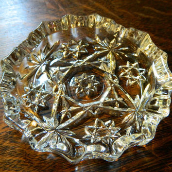 Set of 3 Anchor Hocking Star of David EAPC Pressed Glass Coasters or Ashtrays - Vintage
