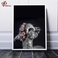 Black White Llama Floral Print and Poster Wall Art Alpaca Decor Nordic Flower Canvas Painting Wall Picture for Living Room Decor