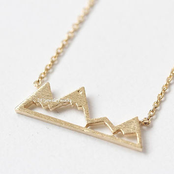 mountain necklace, snowy mountain necklace, simple necklace, mountain, mountain jewelry