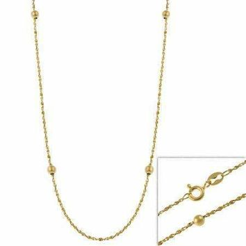 "14k Gold Filled Italian Twisted Serpentine Beaded Chain Necklace 16"""" 18"""" 20"""" 24"""""