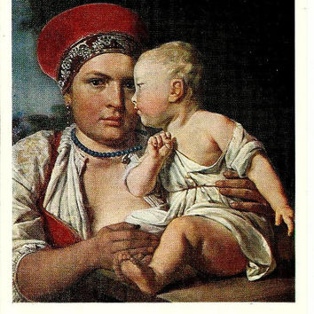 Wet Nurse with Child, Art Vintage Russian Postcard, Artist  A. Venetsianov print 1976