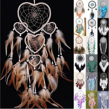 Creative heart shaped Colorful feathers Dream catcher home decoration handmade wind chimes wall hanging Dreamcatcher Indian Trib
