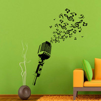 Wall Decal Microphone Studio Notes Musical Instrument Rock Band Wall Decals Rehearsal Room Bedroom Garage Window Stickers Home Decor 3949