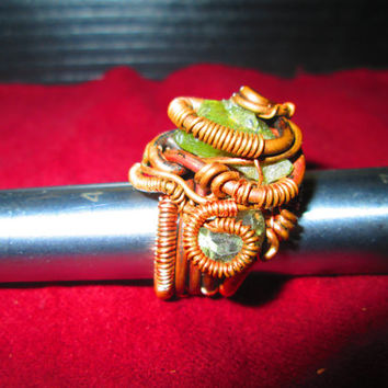 Pharoah's Pinky Ring Handcrafted Wire Wrapped Ring Working Artists Team Steampunk