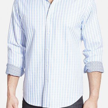 Men's Bugatchi Shaped Fit Houndstooth Stripe Sport Shirt,