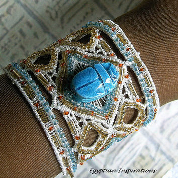 Egyptian Cuff bracelet.  Embroidered scarab cuff bracelet.