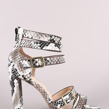 Qupid Snake Strappy Buckled Open Toe Thick Heel