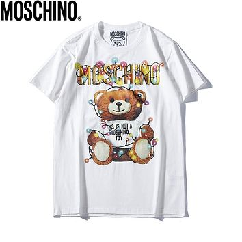 Moschino 2019 early spring new lantern dress gummy bear couple models round neck short-sleeved T-shirt White