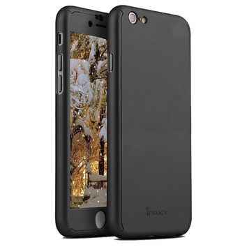 Protective Slim Fit Case Cover with Tempered Glass Screen Protector Skin for iPhone