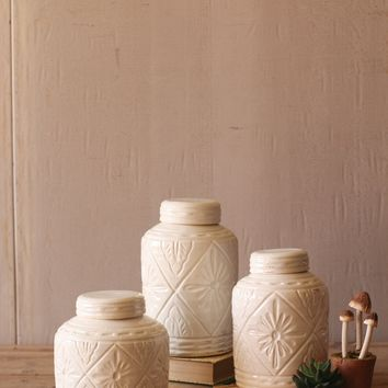 Set Of 3 Ivory Ceramic Canisters With Geometric Pattern