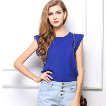 2014 New Fashion Women Chiffon Sleeveless Ruffles Shirt Blouse Tops Solid Color Blouses OL Style Round Collar button blue green
