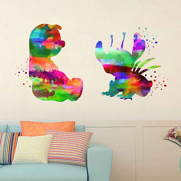 kcik2086 Full Color Wall decal Watercolor Lilo & Stitch Character Disney Sticker Disney children's room