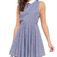 Blue Stripe Cutout Collar Dress