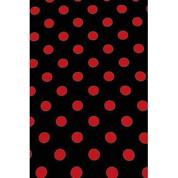 "Poly Pattern Black With Red Polka 1"" Dots 5x9 Background - AB870"