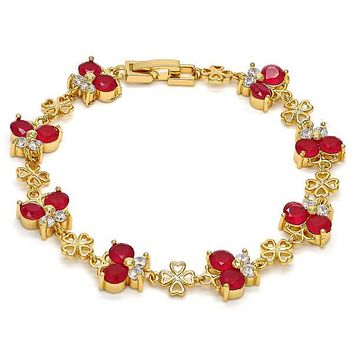 Gold Layered Fancy Bracelet, Butterfly and Flower Design, with Cubic Zirconia, Gold Tone