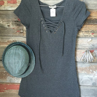 Fun in the Sun Tie Dress: Charcoal