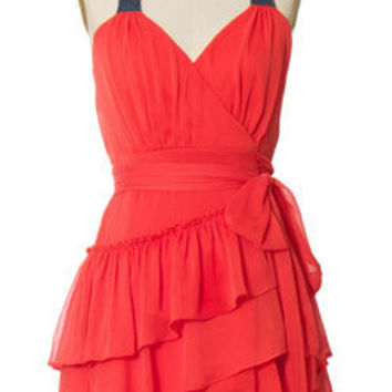 Juniors Clothing - Chloe Loves Charlie - Ruffle Wrap Coral Dress - chloelovescharlie.com | $40.00