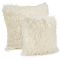 Ivory Mongolian Lamb Faux Fur Pillows | Fabulous-Furss