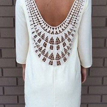 White Backless Cut Out Printed Dress