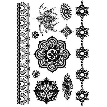 Mandala Mehndi Henna Temporary Tattoos Black