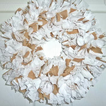 Rag Wreath White Lace Eyelet Fabric Burlap Wedding Bridal Shower