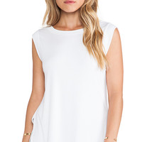 Heather Layered V Back Top in White