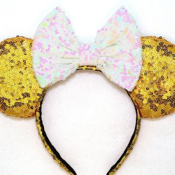 Gold Sequin Ears and Iridescent White Bow