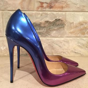 NIB Christian Louboutin So Kate 120 Patent Rose Pink Blue Ombre Heel Pump 35.5