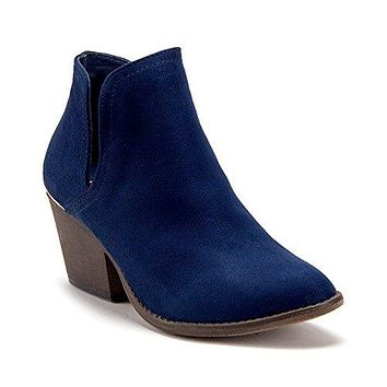 Women's Olivie-1 Western Inspired Split Shaft Cut Out Suede Slip On Ankle Boots