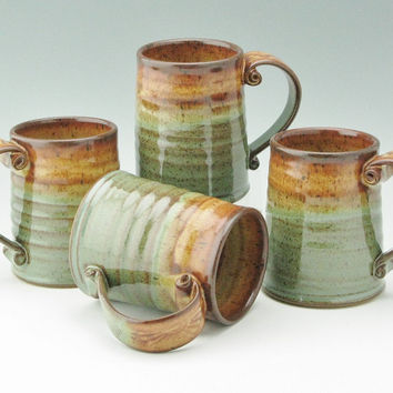 Pottery Tavern Beer Mug in Honey & Sage, Large Stoneware 16 oz Coffee Mug, Sold Singly, Ready to Ship
