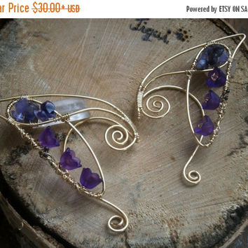 Golden elven earcuffs with amethyst and purple lilies ,elf ear cuffs, elven earcuffs ,statement earrings,woodland, vulcan ears,elegant,LARP