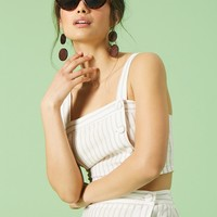 Striped Linen-Blend Crop Cami