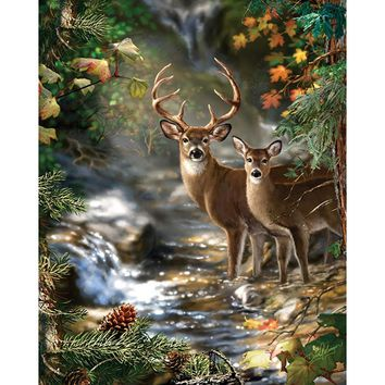 5D Diamond Painting Two Deer by the Stream Kit