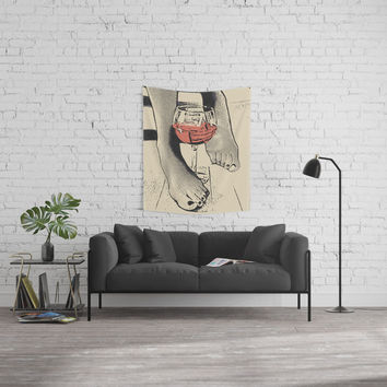 Perfect saturday night - kinky feets fetish artwork, woman in bodystocking with wine glass Wall Tapestry by hmdesignspl