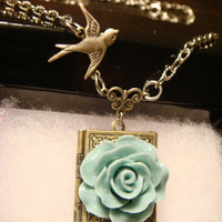 Blue Rose with Flying Bird  Vintage Style Book locket Necklace (1140)
