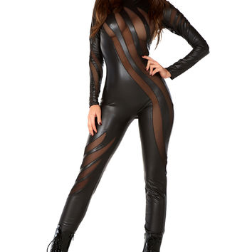 Black Faux Leather Mock Neck Mesh Stripe Catsuit